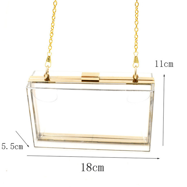 Acrylic Transparent Clutch Chain Box Women Shoulder Bags Hard Day Clutches Bags Wedding Party Evening Purse 5 Colors 4
