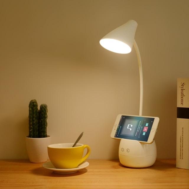 Touch Switch 3 Modes LED Table Lamp Night Light Brush Pot Phone Holder Base Schemerlamp Dimmer Study USB Flexible Desk Lamps