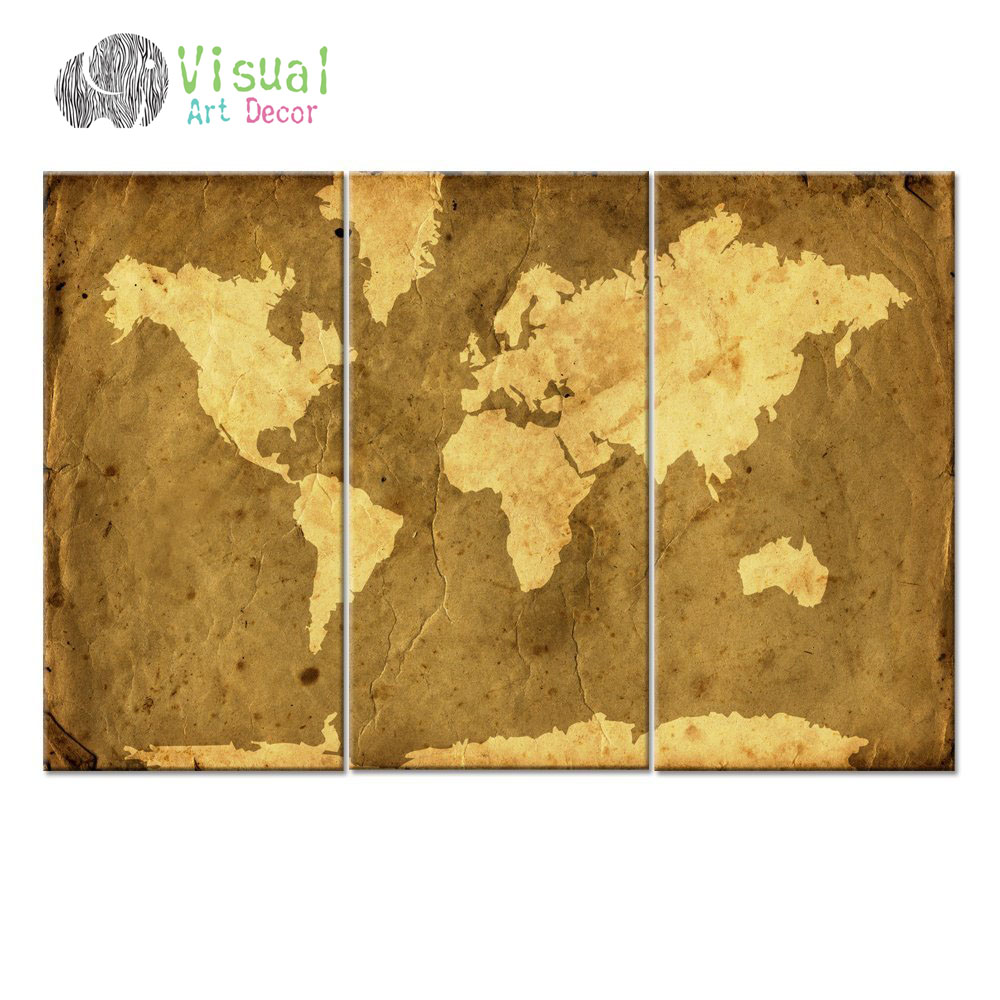 Abstract modern world map canvas art antiquated style map poster 3 abstract modern world map canvas art antiquated style map poster 3 panel canvas art world map decal home wall decoration in painting calligraphy from home gumiabroncs Images