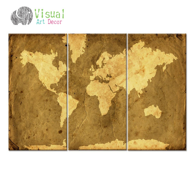 Abstract modern world map canvas art antiquated style map poster 3 abstract modern world map canvas art antiquated style map poster 3 panel canvas art world map gumiabroncs Image collections