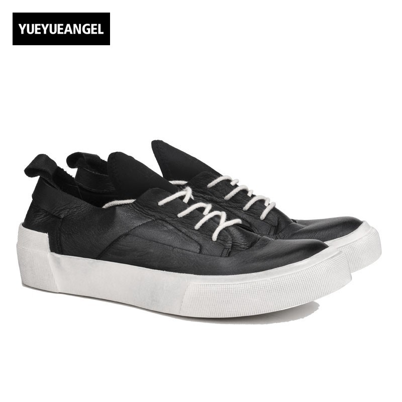 Vintage Brand Men Thick Platform Casual Shoes Hip Hop Luxury Real Cow Leather Shoes Male Lace Up Trainer Skateboard Sneakers цена и фото