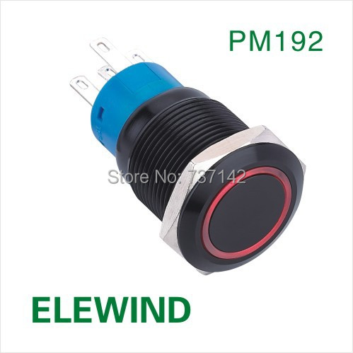 ELEWIND 19mm Ring illuminated latching push button switch(PM192F-11ZE/R/12V/A) elewind 16mm 3 led color ring illuminated push button switch pm161f 10e j rgb 12v s 4pins for led