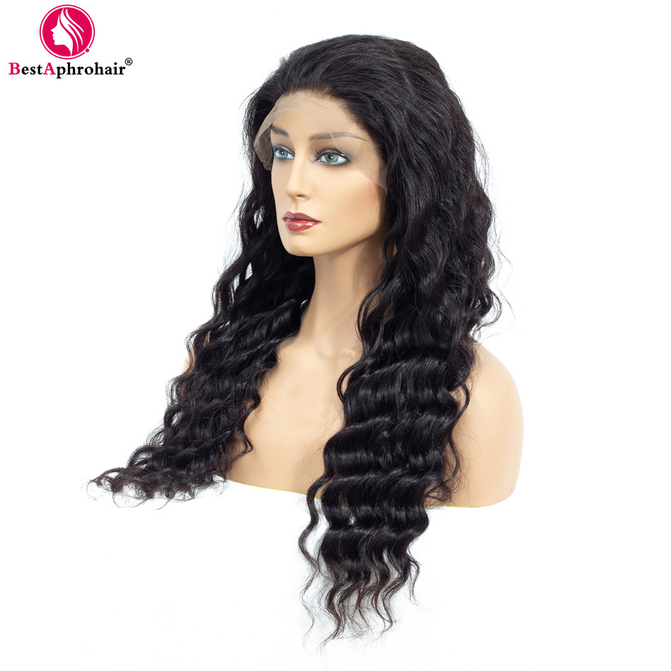 13*4 Deep Wave Lace Front Human Hair Wigs Pre Plucked Brazilian Remy Human Hair Wigs With Baby Hair 150% Density Natural Black
