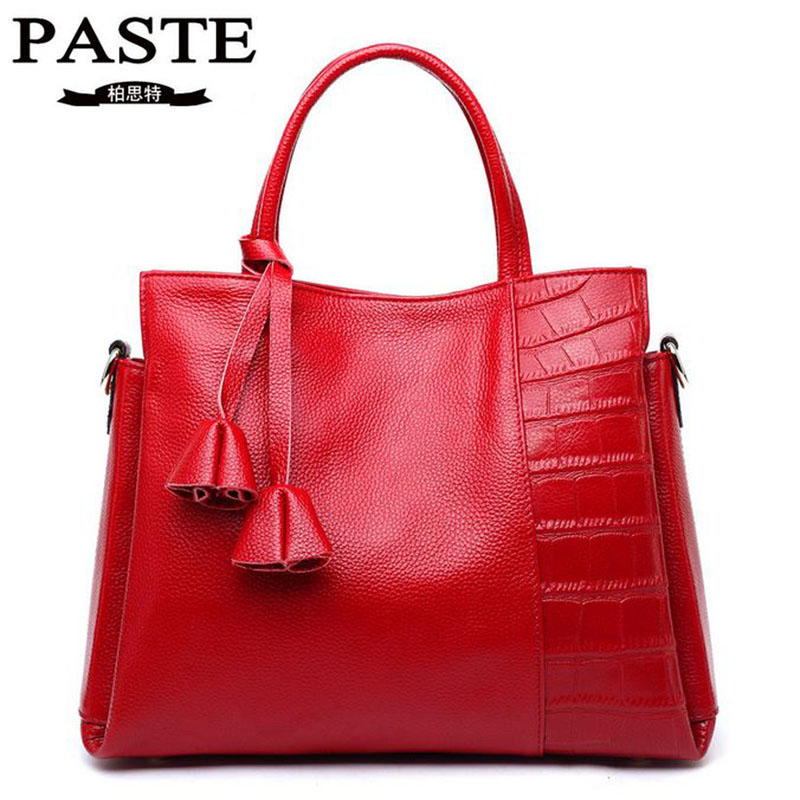 New Fashion Genuine Leather Handbag Luxury Brand PASTE Cowhide Tassel Women's Messenger Bags Casual Tote Shoulder Crossbody Bag [whorse] brand luxury fashion designer genuine leather bucket bag women real cowhide handbag messenger bags casual tote w07190