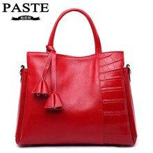 New Fashion Genuine Leather Handbag Luxury Brand PASTE Cowhide Tassel Women's Messenger Bags Casual Tote Shoulder Crossbody Bag