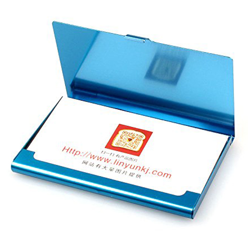 Creative Aluminum Holder Useful Box Cover Credit Business Card Wallet (Blue)