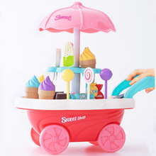 Ice Cream Cart Toy Girl Baby Trolley Children Truck Toys Set Pretend Play Simulated Doll Furniture Dollhouse