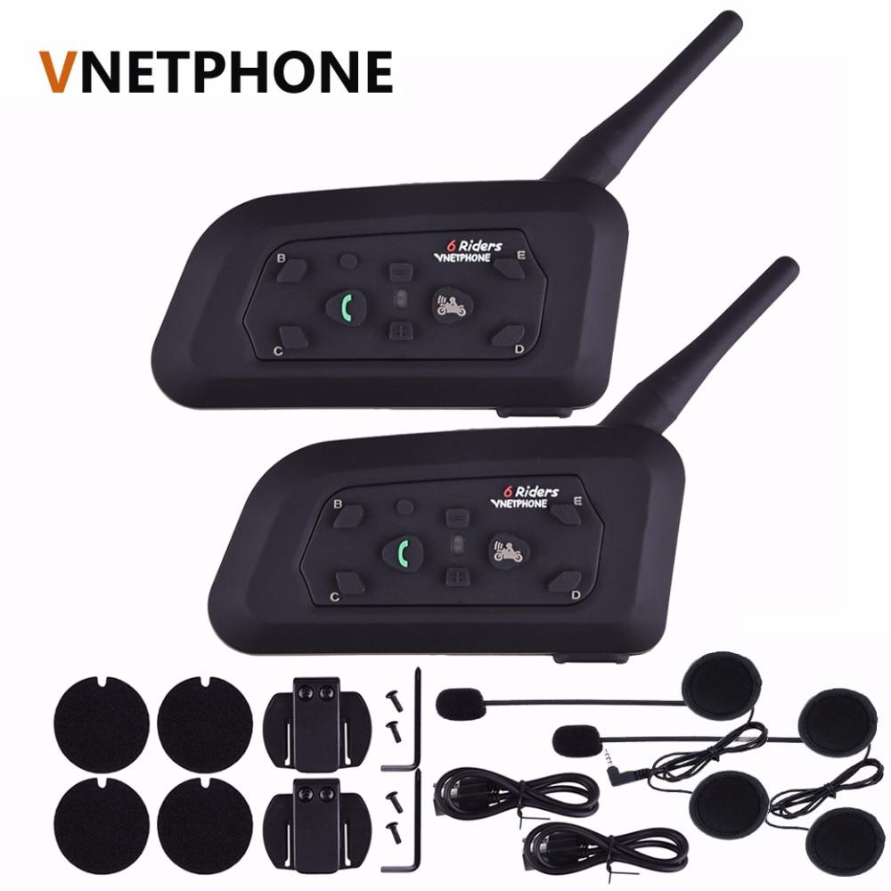 2 PCS Vnetphone V6 Motorrad Bluetooth3.0 Helm Intercom Headset 1200 M Moto Drahtlose BT Sprech für 6 Fahrer Helm Intercom