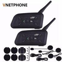 2pcs Set V6 Bluetooth 3 0 Motorcycle Helmet Intercom Interphone 6 Riders Wireless BT Intercomunicador 1200M