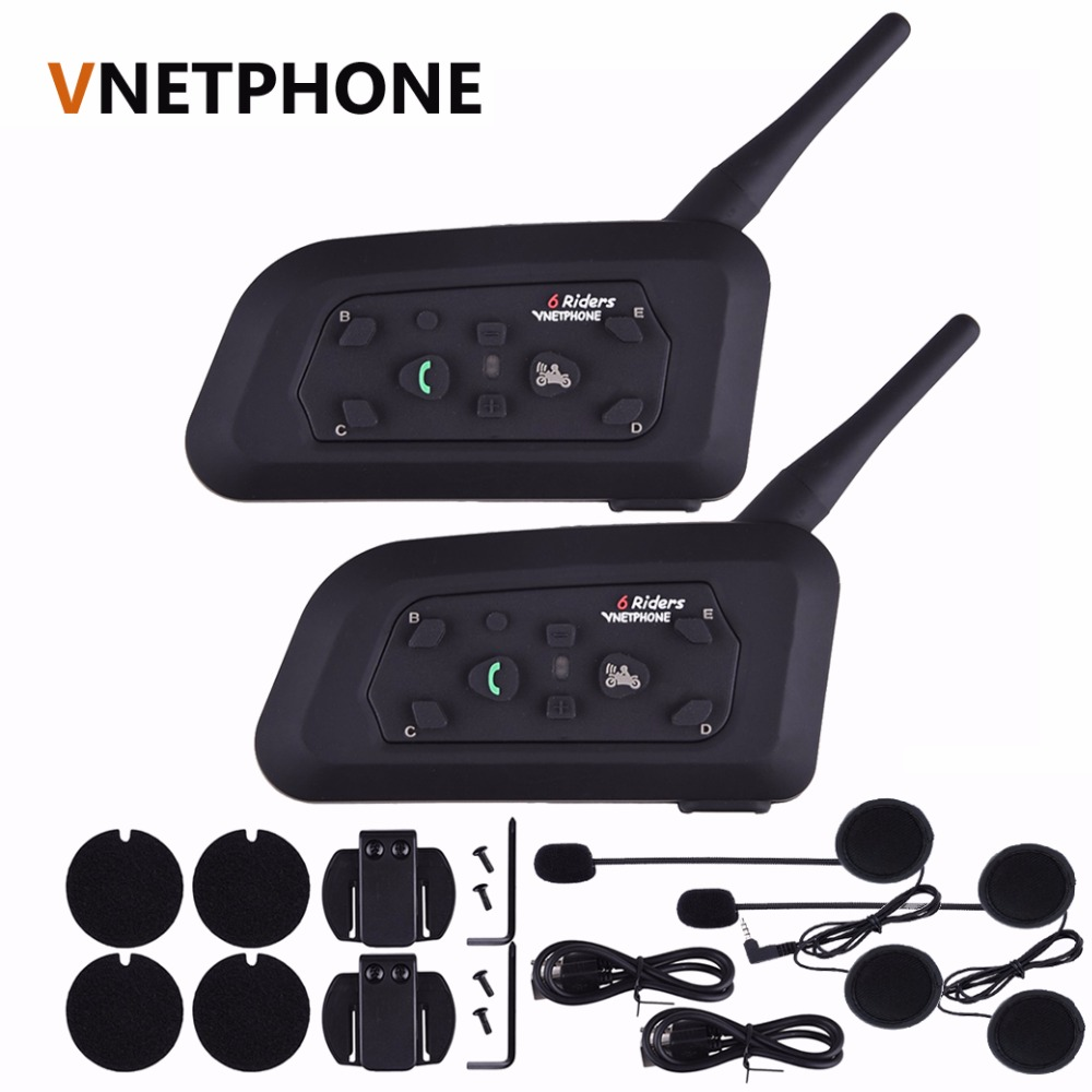 2PCS Vnetphone V6 Motorcycle Bluetooth3.0 Helmet Intercom Headset 1200M Moto Wireless BT Interphone for 6 Riders Helmet Intercom vnetphone 5 riders capacete cascos 1200m bt bluetooth motorcycle handlebar helmet intercom interphone headset nfc telecontrol