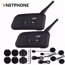 2pcs/set V6 Bluetooth 3.0 Motorcycle Helmet Intercom Interphone 6 Riders Wireless BT Intercomunicador 1200M