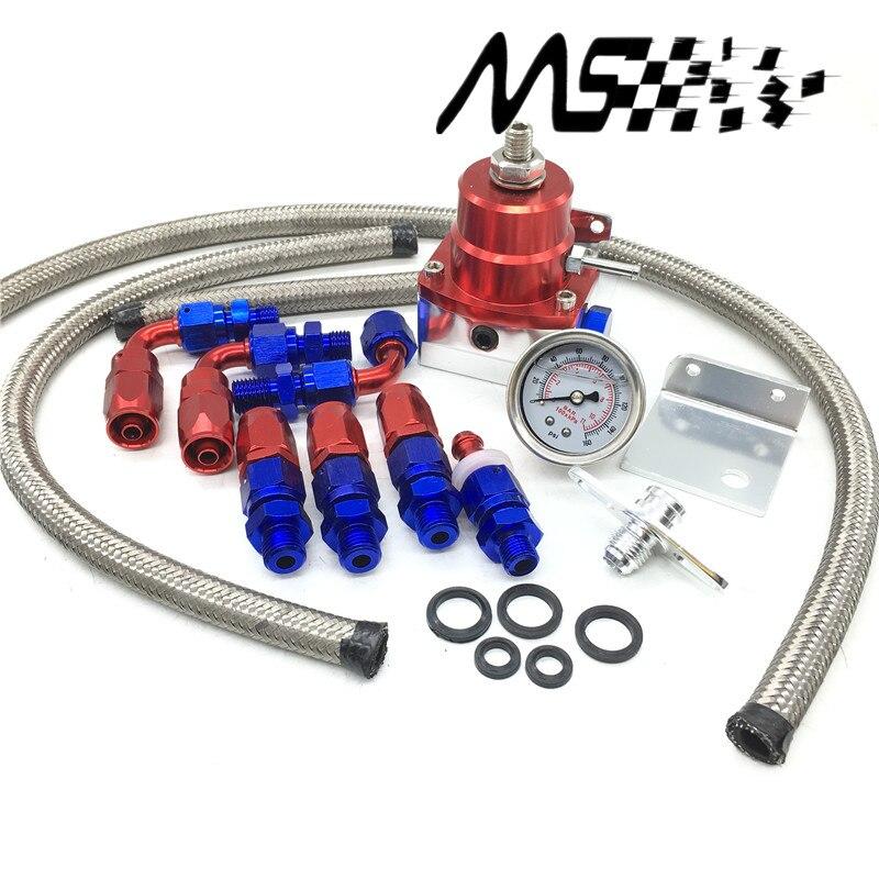 Universal Injected Blue Fuel Pressure Regulator Kit Liquid Gauge With Oil Fitting Fit FOR Honda Supra