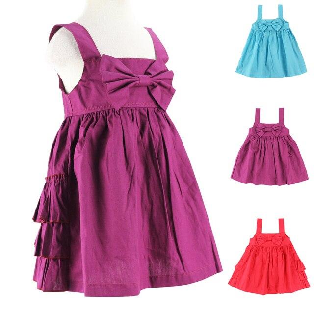 21faa11b817f7c Meisjes jurken nieuwe mode 2016 zomer babykleding Boog Ruche ontwerp baby  meisje kleding kids geweven katoenen