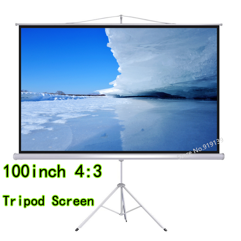 High Definition 100 inch 4:3 Tripod Projector Screen Portable Floor Stand Bracket HD Projection Screens For Cinema Office PPT