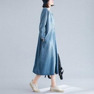 Image 3 - Johnature Autumn Korean Solid Color Patchwork Pockets V neck Cotton Jean Dress 2020 New Casual Vintage Long Sleeve Women Dresses