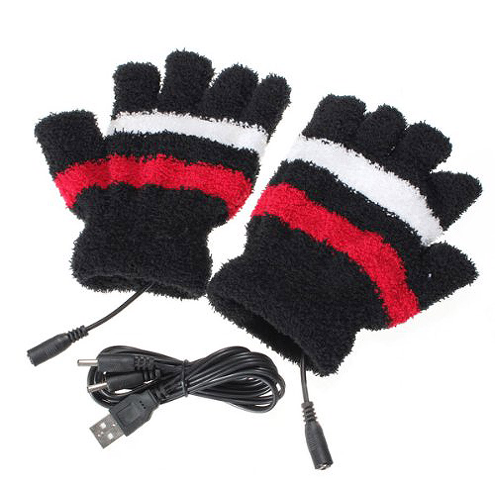 Winter  Unisex Fashion Electric USB Heatting Color Hand Warming Mitts Gloves + USB Cable TH36