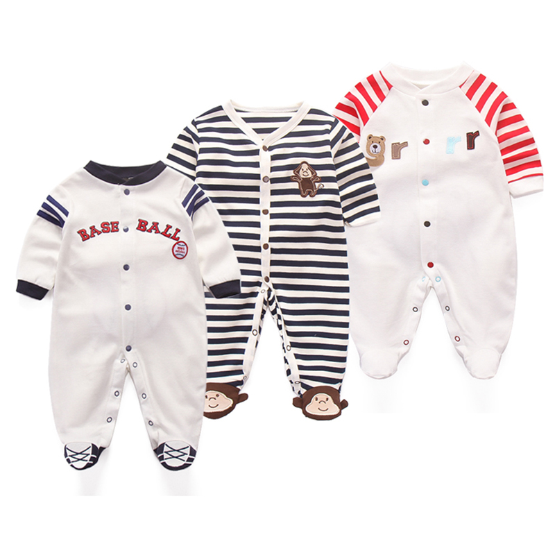 3Pcs Baby Footies Cute Cartoon Jumpsuit Cotton Animal Outside Suit Stripe Clothing 0-12M Newborn Long Sleeve Fashion Clothes