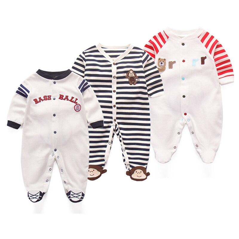 3Pcs Baby Footies Cute Cartoon Jumpsuit Cotton Animal Outside Suit Stripe Clothing 0-12M Newborn Long Sleeve Fashion Clothes