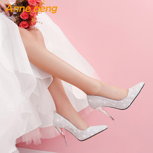 women pumps High thin heel bling Bridal wedding shoes classi
