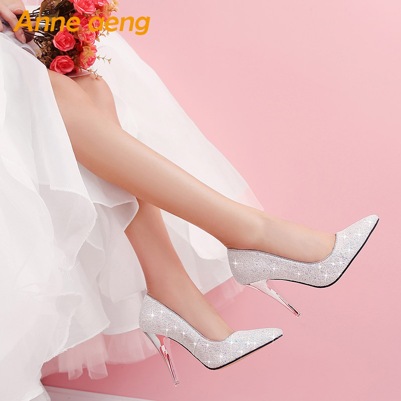 women pumps High thin heel bling Bridal wedding shoes classic pointed toe Sexy Ladies party shoes White High Heels size 34 43