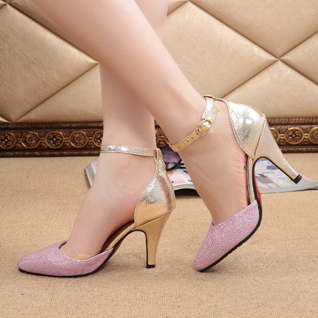 2d563cfeec2 2014 Fashion Pink Blue Black Silver Golden High Heels Pointed Toe Women  Wedding Pumps Sandals Ladies Party Bridal Shoes WS-7121