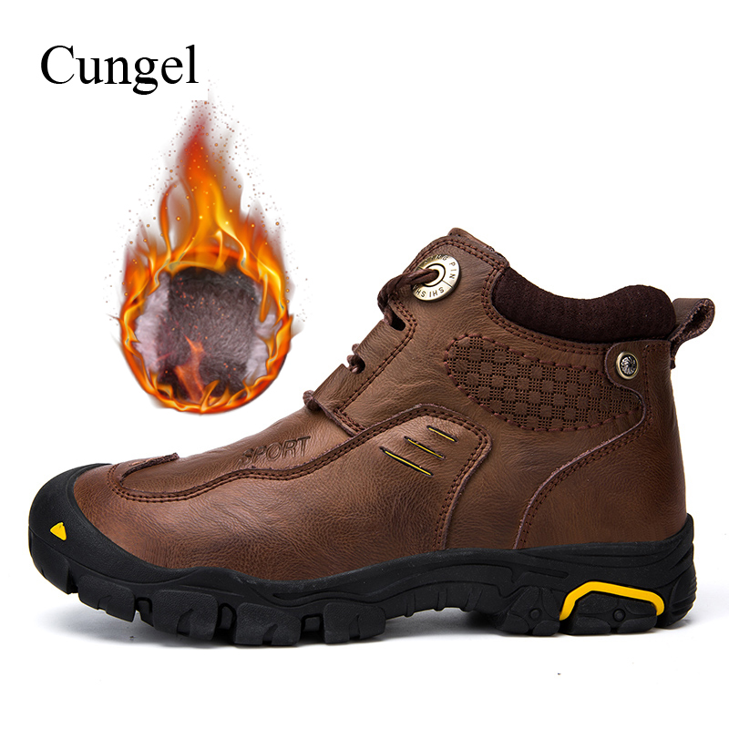 Cungel Winter men Hiking shoes Outdoor Trekking Cowhide Casual classic boots Warm plush Mountain climbing Anti-skid Boots 2018 new wide c d w massage sapatilhas outdoor trekking boots anti skid brand men shoes top quality mountain climbing hiking