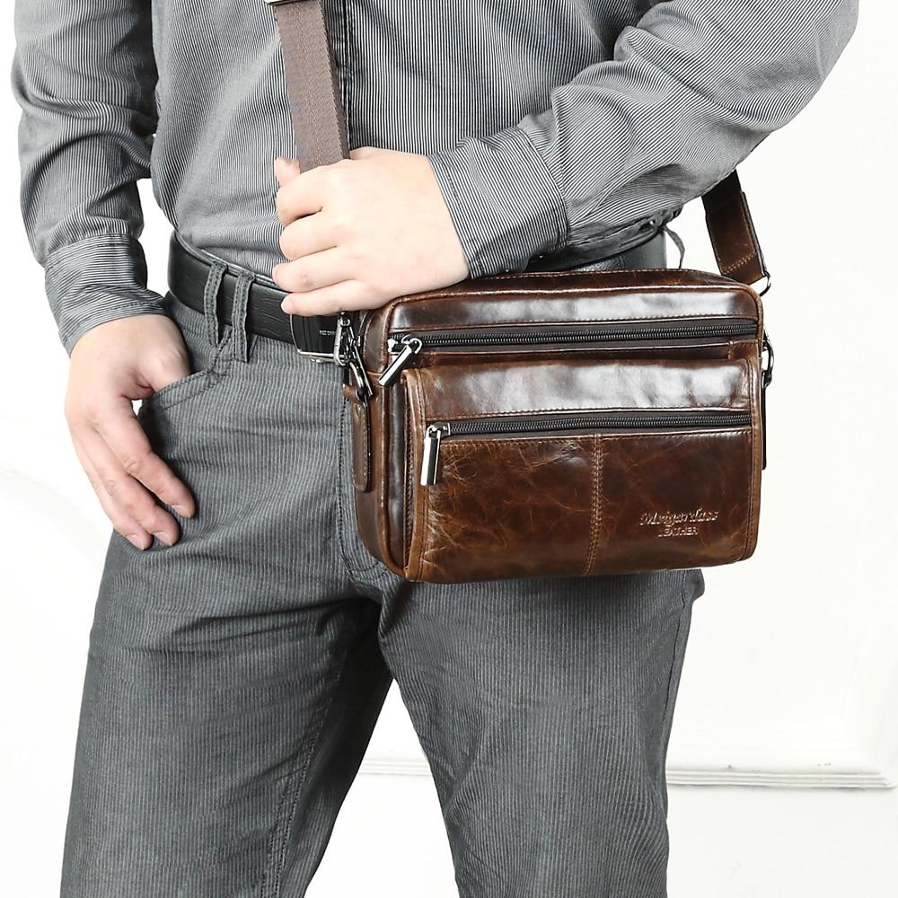 Mens Messenger Bag Mens Briefcase Genuine Leather Business Bag Messenger Bag First Layer Cowhide Leisure Bag Cross-Section Mens Bags Suitable for Business Casual Laptop Bag Briefcase Satchel Bag