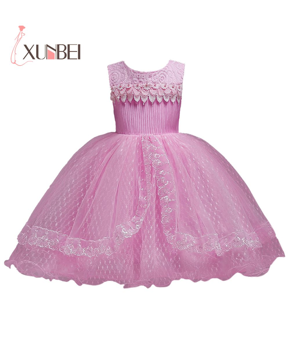 Princess Knee Length Pink   Flower     Girl     Dresses   2019 Lace Kids Pageant   Dresses     Girls   First Communion   Dresses