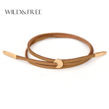 Women New Double Layer PU Leather Bracelets Vintage Worn Gold Zinc Alloy Moon Pendant Adjustable Charm Bangles Jewelry Female