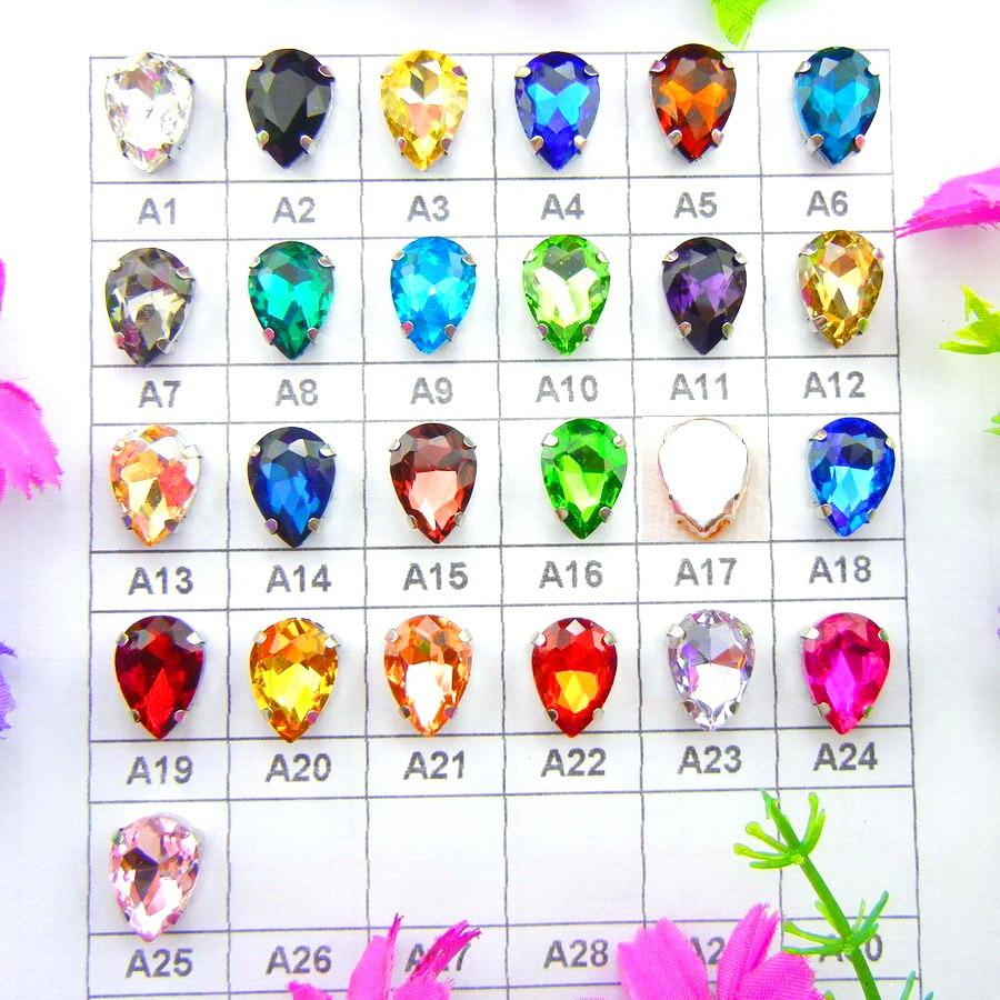 Kaca warna-warni Kristal cakar Perak 7 ukuran Berbagai warna campuran tetesan air mata setetes Menjahit manik-manik berlian imitasi gaun pengantin diy