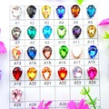 De vidrio de colores de cristal garra de plata 7 tamaños diferentes colores de la mezcla de la gota de agua coser de lágrima en cuentas de diamantes de imitación de la boda Vestido diy