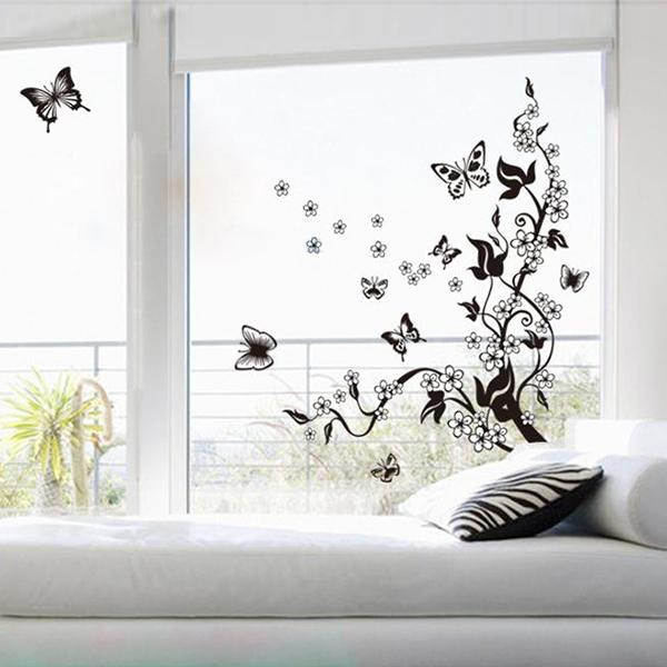 Aliexpress.com : Buy Butterflies Flowers Tree Wall Sticker Home Decor DIY  Art Vinyl Mural Decal Sticker For Living Room Branches Poster For Bedroom  From ...
