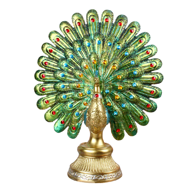 European Resin Peacock Opening Figurines Ornaments Creative Lucky Peacock Miniature Desktop Crafts Home Decoration Wedding Gifts