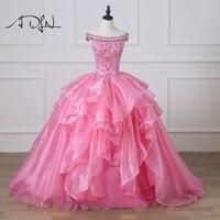 ADLN Роскошный Розовый Пышное Платье с Стразы бальное платье миди платье для 15 лет Праздничное платье сладкий 16 платье