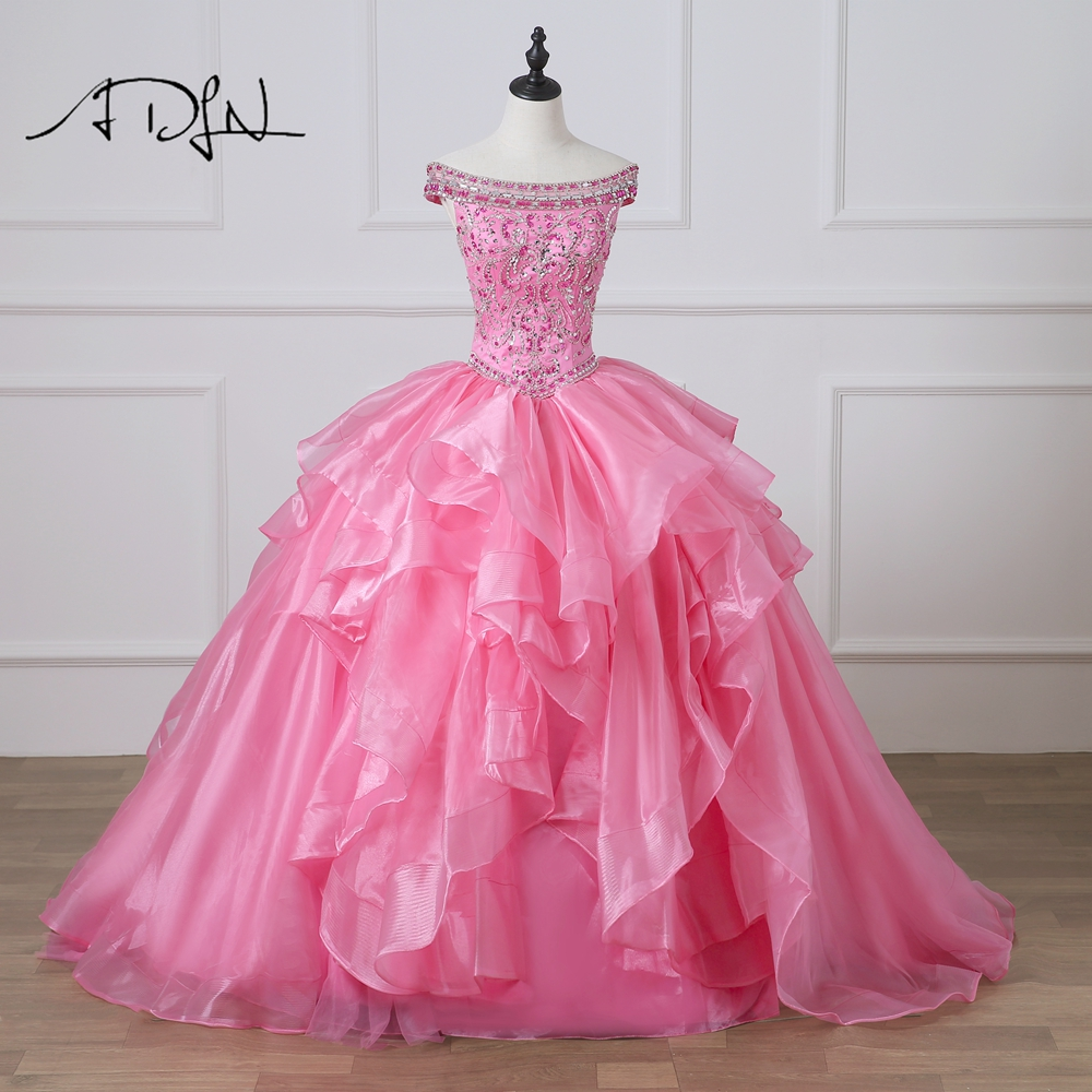 ADLN Luxury Pink Quinceanera Dresses with Rhinestones Ball Gown Debutante Gown For 15 Years Pageant Dress Sweet 16 Dress