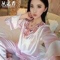 2016 a primavera eo verão nova renda Com Decote Em V de seda pijamas de maternidade longo-de mangas compridas treino terno mulheres sleepwear pijama hamile