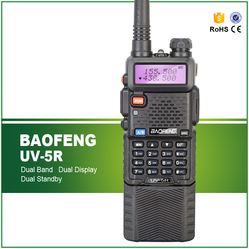 Upgrade BaoFeng Two Way Radio UV-5R VHF 136-174MHZ UHF 400-520MHZ Matched With Big Battery Walkie Talkie Free Headset