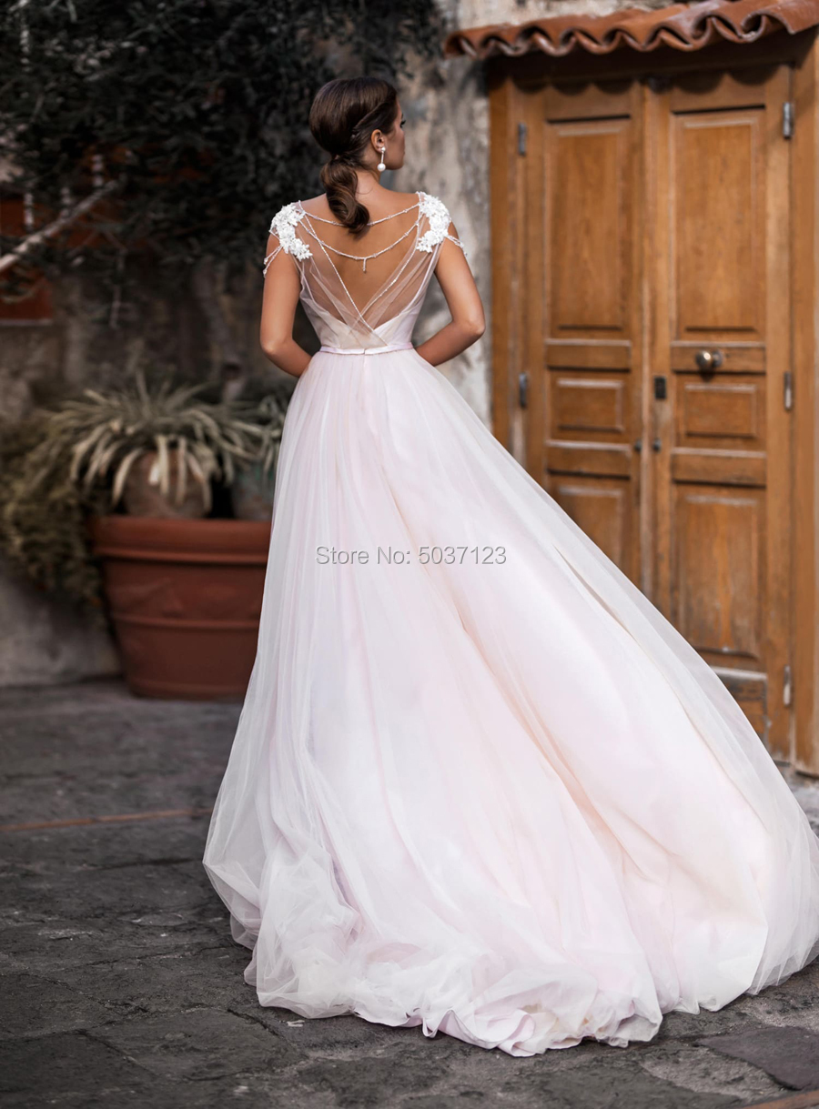 Pink Tulle A Line Wedding Dress 2021 Vestido De Noiva Cap Sleeves Lace Appliques Beading Scoop Neck Open Back Boho Wedding Gowns