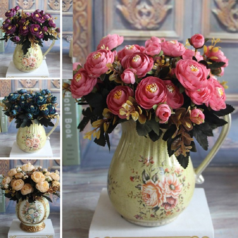 Keythemelife Fiore artificiale Fake Peony Vivid 6 Head Autumn Home Room Nuziale Ortensia Decor Real Touch High Qulity 3A