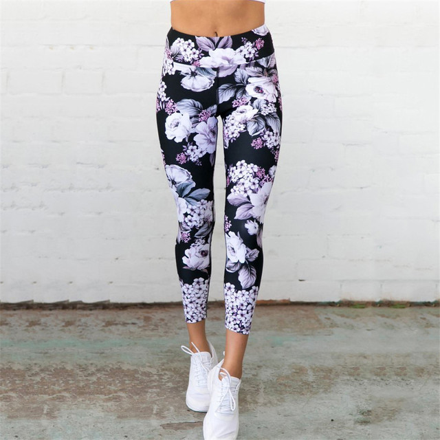High Waist Yoga Pants Women's Fitness Sport Leggings Flower Printing Elastic Gym Workout Tights S-XL Running Trousers Plus Size