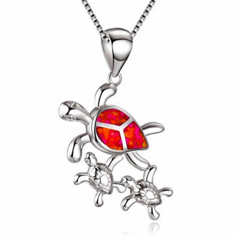 2019 Милая имитация опала морская черепаха семья ожерелье синяя эмаль животное кулон ожерелье s для женщин Свадебная вечеринка ювелирные изделия подарок