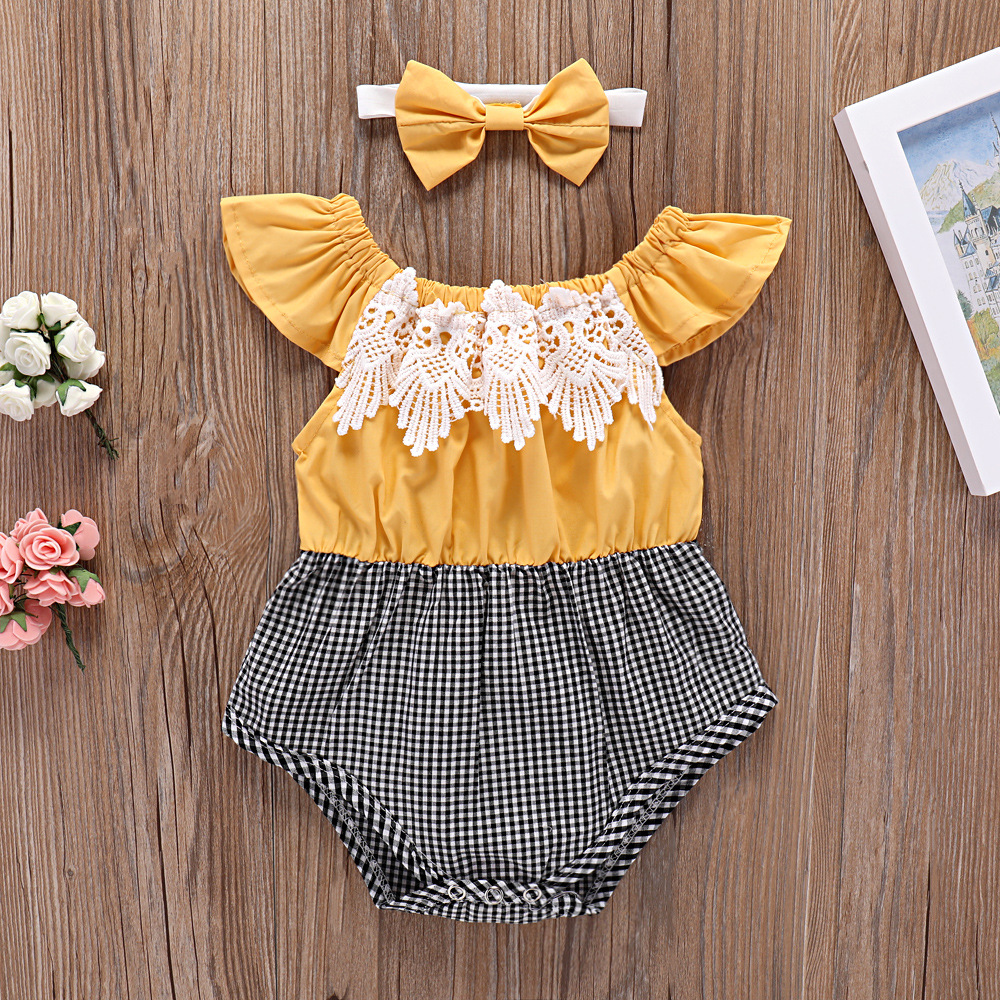 New Bodysuits Newborn Infant Baby Girl Clothes Cotton Casual Jumpsuit Headband 2pcs Sunsuit Bodysuit Baby Girl