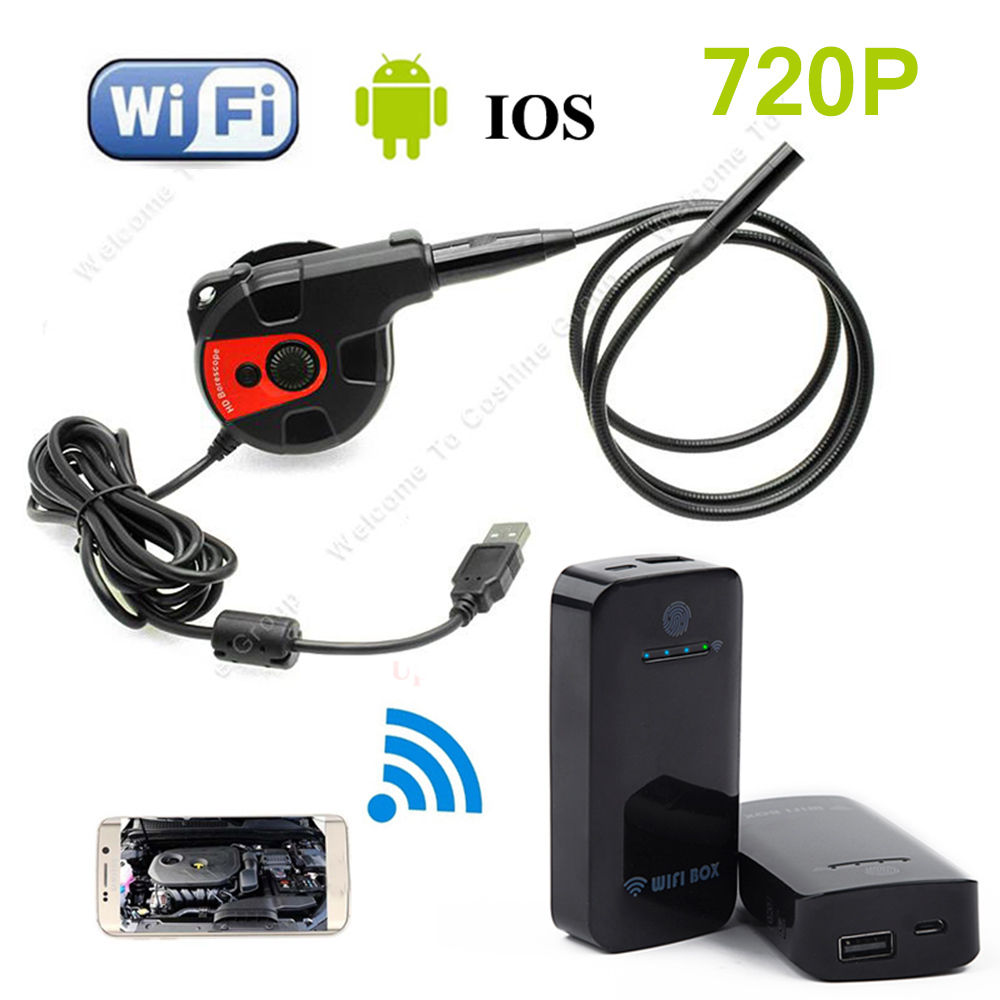 8.5mm 2M Handheld Endoscope Borescope Inspection Camera with Mirro/Magnet/Hook+WIFI BOX For IOS And Android Free shipping