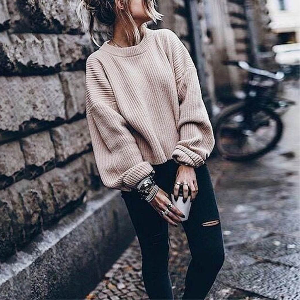 Pullover Sweater Lantern Long-Sleeve Woman Autumn Solid-Color Femme O-Neck Ropa Mujer