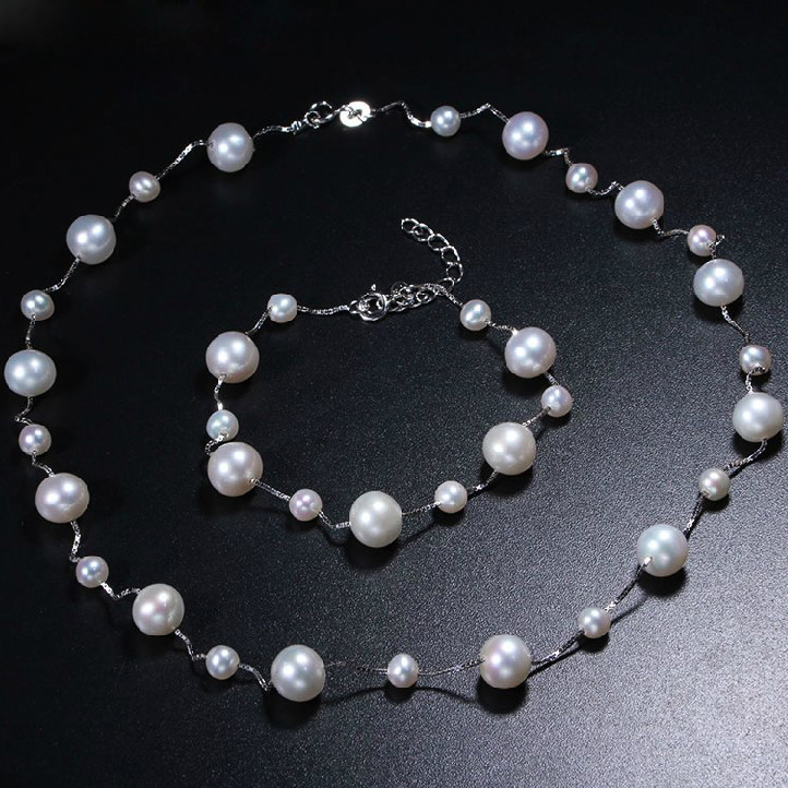 Natural Freshwater pearl Jewelry Sets Real pearl Necklace Bracelet Round Pearl Jewelry Sets for women Fine Pearl Jewelry [meibapj] natural freshwater pearl jewelry sets real pearl necklace earrings ring jewelry sets for women flower jewelry set