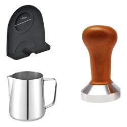 Food Grade 51mm ubijak do kawy drewniany uchwyt zaparzacz do espresso dla baristy Grinder Handmade kawy mata silikonowa Pull Cup w Ubijaki do kawy od Dom i ogród na