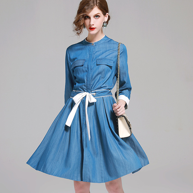 9a0a7bf159c 2018 Spring Women Denim Dress Vintage half sleeve Tunic Cotton Thin Blue  gloria jeans Dress Casual Sashes Cotton Femal Dresses