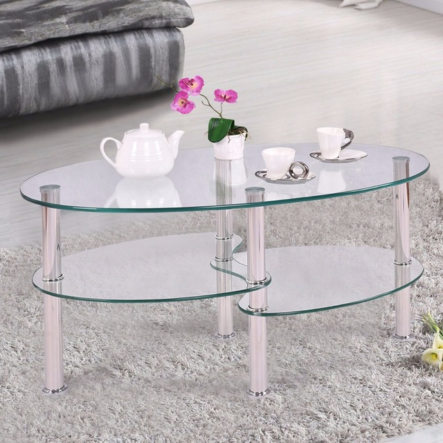 Goplus Tempered Glass Oval Side Coffee Table Shelf Chrome Base Living Room Clear Black Modern Coffee Table HW54317 2