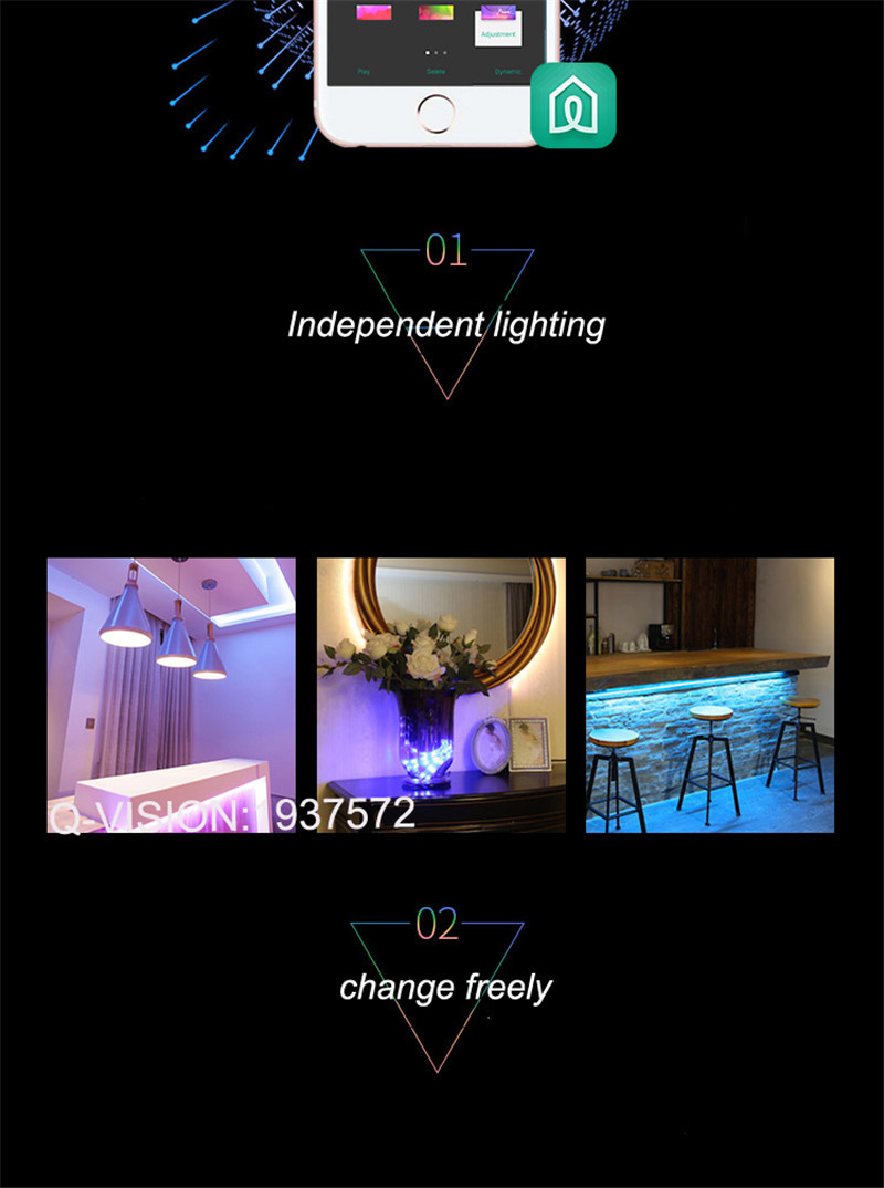 11-Lifesmart New LED Light Strip Wireless Remote Control by Phone16 Million Colors RGB Dimmable Smart Home Automation Customerized