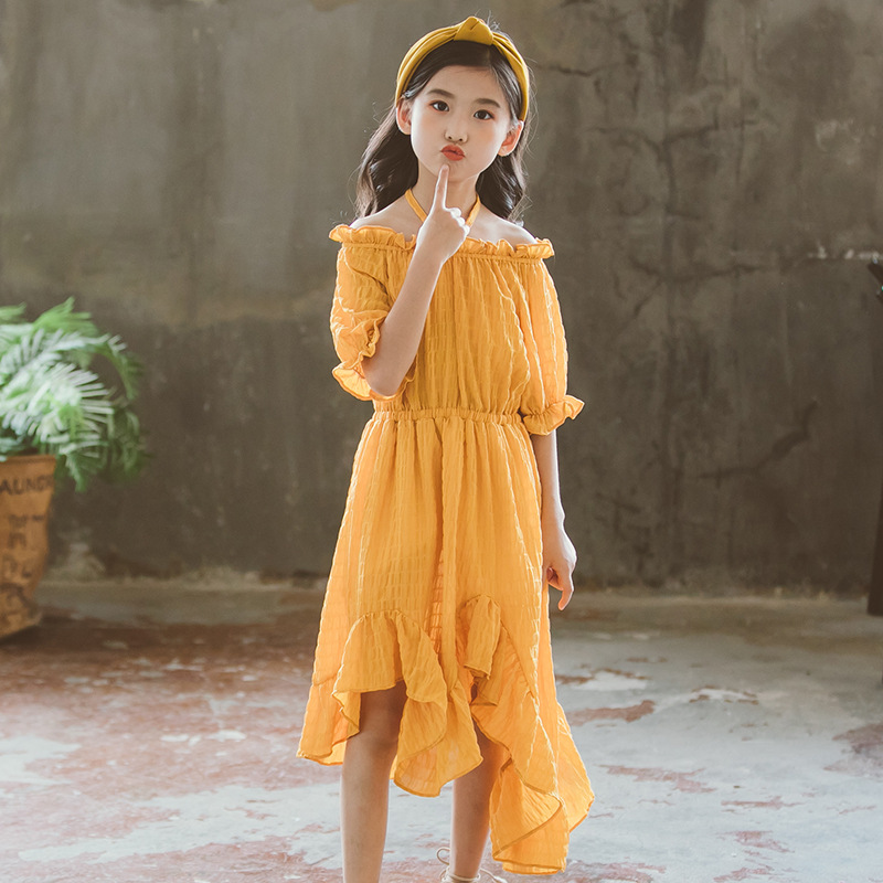 Girls Dress Fishtail Dress Outfits Clothing Strapless Dresses Teenage Girls Dress for Adolescents 2-12 Teens Girls Clothes CA027